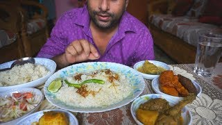 Eating show with sound | eating chicken curry and egg vona with shorse ilish