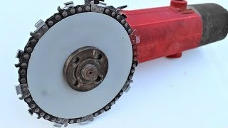 EXPERIMENT GRINDER as CHAINSAW cutting WOOD