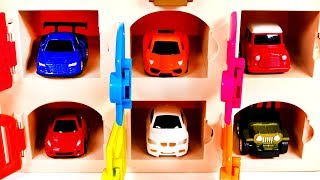 Garage Parking Playset and Toy Car for Kids Learn Colors for Children