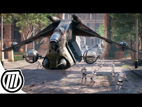 Star Wars Battlefront 2 Clone Army Gameplay ATRT Jumptrooper N1 Starfighter V Wing CLONE WARS