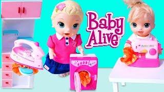 Baby Alive Lily ve Blonde Oyuncak Bebekler Evi Süpürüyor Ütü Yapıyor | Bebek Videoları | Oyuncak