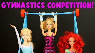Barbie GYMNASTICS Competition With Elsa Barbie And Ariel! Vintage 1974 Olympic Set!