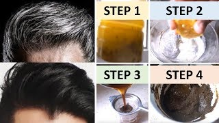 APPLY ONLY 1 TIME AND  TURN WHITE HAIR TO BLACK INSTANTLY 100% WORKS || Natural Home Remedies
