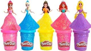 Learn Colors Play Doh Sparkle Disney Princess Dresses Belle Elsa Ariel Magiclip