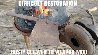 ANCIENT MEAT CLEAVER KNIFE RESTORATION AND MOD