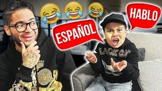 MY LITTLE BROTHER CAN ONLY SPEAK SPANISH FOR 24 HOURS!! **HE COULDN