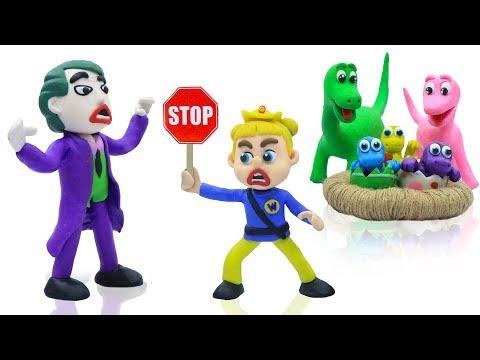 Xxx Mp4 SUPERHERO BABY POLICE SAVES DINOSAUR 💖 Play Doh Cartoons For Kids 3gp Sex