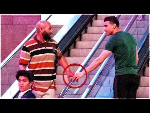 Touching Hands On Escalator Prank Guy vs Girl Edition