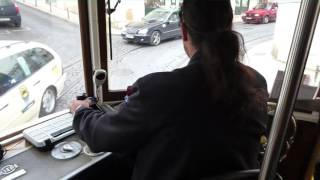 tram 28 lisbon driver view
