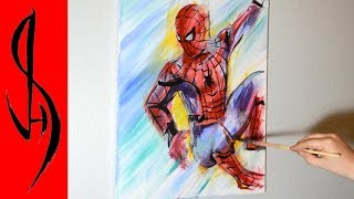 Painting Spiderman with Acrylic Paints on Canvas