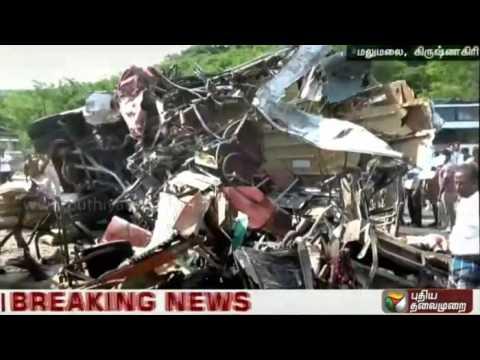 First shots of road accident near Krishnagiri,involving bus,lorry & car-8 killed