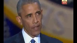 Watch moment tearful Barack Obama thanks wife Michelle in emotional final speech as Presid