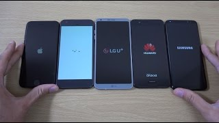 Samsung Galaxy S8 vs LG G6 vs Huawei P10 vs Google Pixel vs iPhone 7 - Speed Comparison!