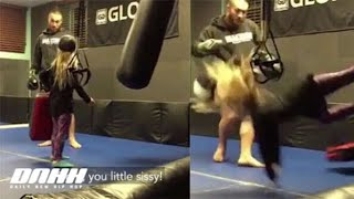 Didn't Hold Back: Little Girl Asked For A Real Kick And Dude Delivered!