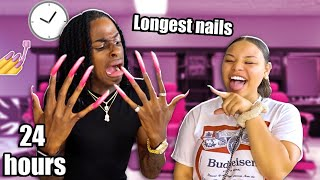 WEARING THE WORLDS LONGEST NAILS FOR 24 HOURS!! 😱