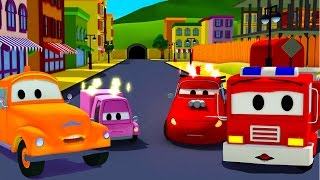 The Car Patrol: fire truck and police car with Tom the Tow Truck and the accident  in Car City