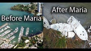 Fajardo in  Puerto Rico  before and after hurricane Maria,  hotels, marina, cars, trees