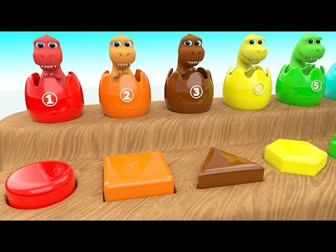 Learning Shapes & Colors with Dinosaur Cartoon Color Surprise Eggs 3D Kids Toddler Educational Video