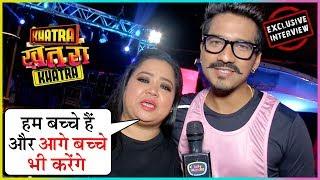 Bharti Singh & Harsh Limbachiyaa FUNNY REACTION On 100 Episodes Completion Of Khatra Khatra Khatra