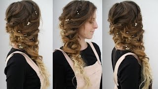 Side Swept Curly Braided Style | Cascading hairstyles | Braidsandstyles12