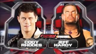 WWE RAW Match Card  Jeff Hardy v s Cody Rhodes