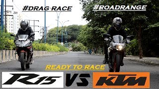 Drag race Ktm RC 200 VS Yamaha R15 Road range and  extra shots