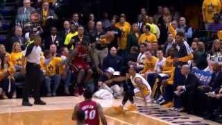 LeBron James falls into Shaq