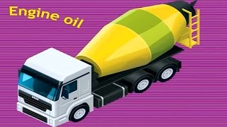 Truck parts for Kids - Concrete Mixer Truck & Tow Truck learn funny cartoon for children