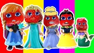 Disney Princess Frozen Finger Family for Kids Anna Elsa Ariel Strawberry Finger Family