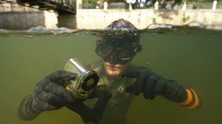 Found Lost Waterproof Camera, Knife and Ray-Bans Underwater in River! (Freediving) | DALLMYD