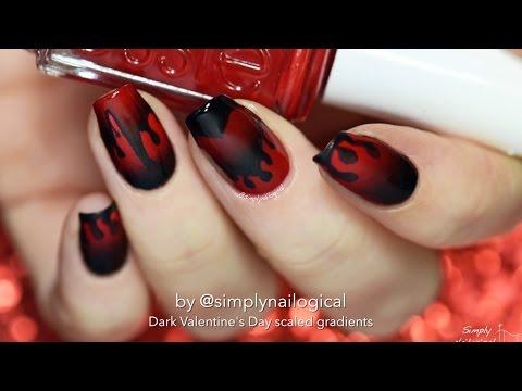 Dark/anti- Valentine's Day nail art - Scaled gradient technique!