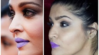 Aishwarya Rai Bachchan Cannes 2016 Inspired Look | Smokey Eyes and Lavender Lips | 2 Lip Options