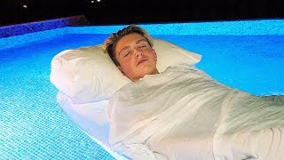 I Spent the Night in a Swimming Pool & It Was Shocking! (24 Hour Overnight Challenge)