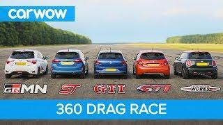 Polo GTI vs Fiesta ST vs Yaris GRMN vs MINI JCW vs 208 GTI - 360 DRAG RACE and ROLLING RACE