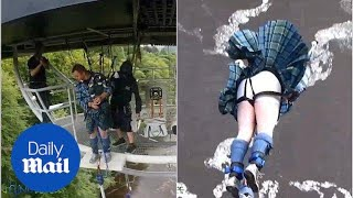 Adventurous bagpiper bungee-jumping as he plays Scottish song - Daily Mail