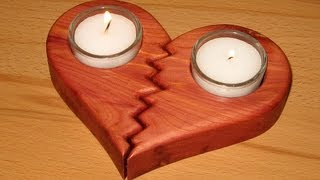 easy scroll saw project - a broken heart candle holder - woodworking
