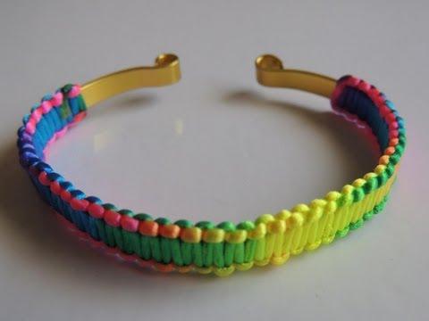 DIY Como hacer Pulsera de macrame con alambre plano multicolor fluor. Bracelet fluor wire.