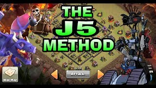 NEW ATTACK 2018-THE J5 METHOD-DRAGON ASSIST ATTACK CLASH OF CLANS TH9