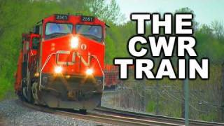 The CN continuous welded rail work train.