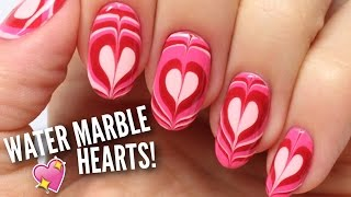 Water Marble Heart Nails | Nail Hack!