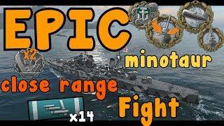 EPIC Minotaur Close range Fight 354K DMG || World of Warships