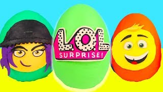 Giant Emoji Movie and LOL Surprise Doll Play Doh Mega Egg with Hatchimals, Blind Bags, Shopkins
