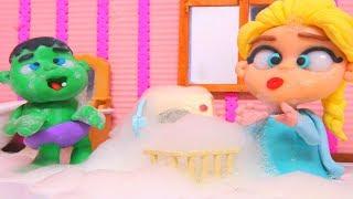 HULK, FROZEN ELSA & THE WASHING MACHINE ❤ Superhero Play Doh Cartoons For Kids