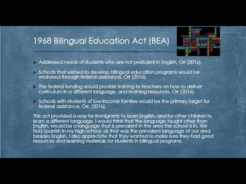 Week 3 Assignment: History of Bilingual Education: EDU 321