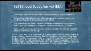 Week 3 Assignment: History of Bilingual Education: EDU 321