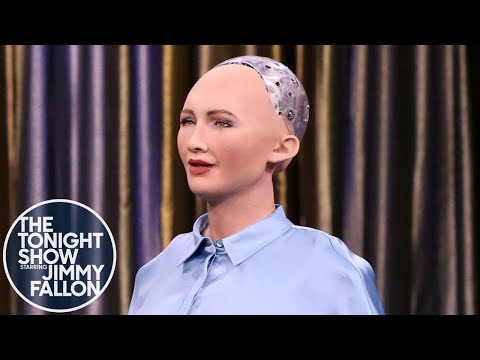 Tonight Showbotics Jimmy Meets Sophia the Human Like Robot