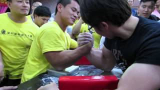 SAL Armwrestling Championship 2015(Sparring RH) - Jiseung Hong(Korea) vs China Champion 90kg