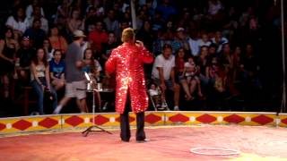 WALKER CIRCUS NYS FAIR 2012 - RINGMASTER INTRODUCES CIRCUS AND BREATHES FIRE