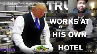 PRESIDENT TRUMP WORK AS A WAITER IN HIS OWN HOTEL REACTION.