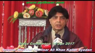 Interior Minister Ch Nisar Ali Khan press Conference Kallar Syedan Jan 2017